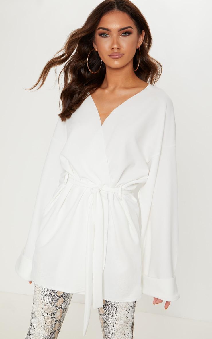 Cream Belted Oversized Sleeve Blazer 1