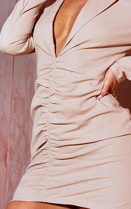 Stone Plunge Ruched Front Blazer Dress 4