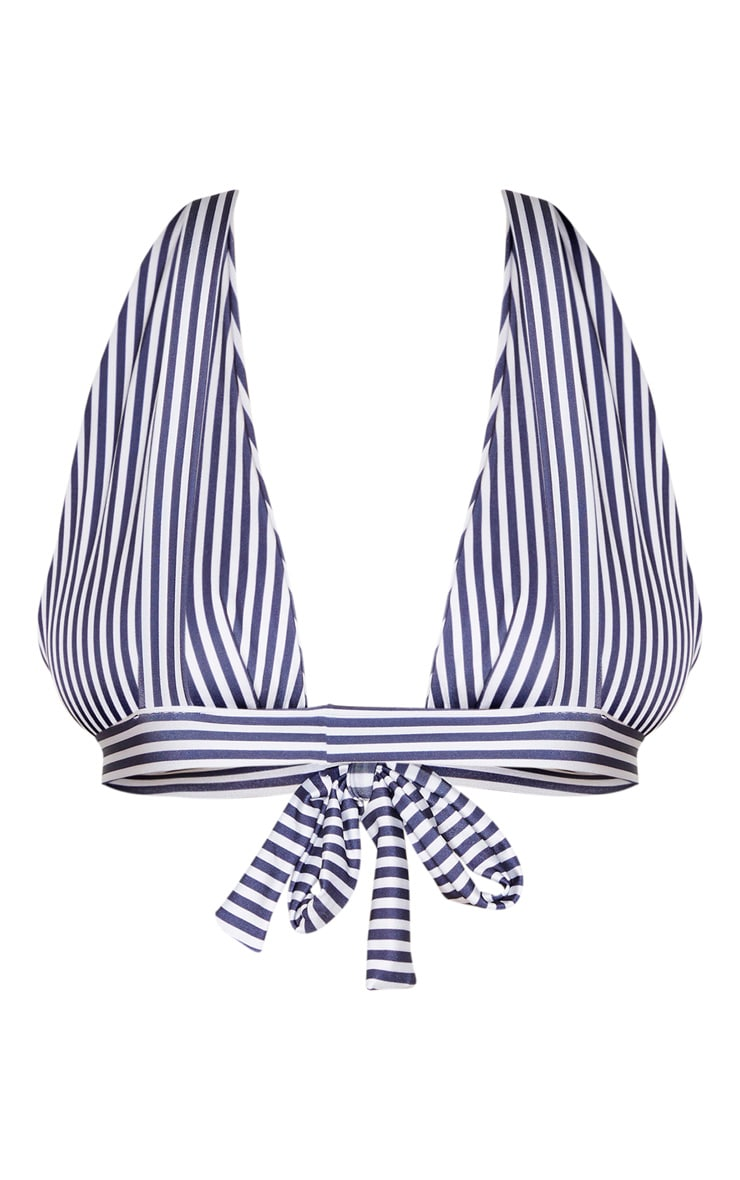 Plus Navy Striped Bow Front Bikini Top  5