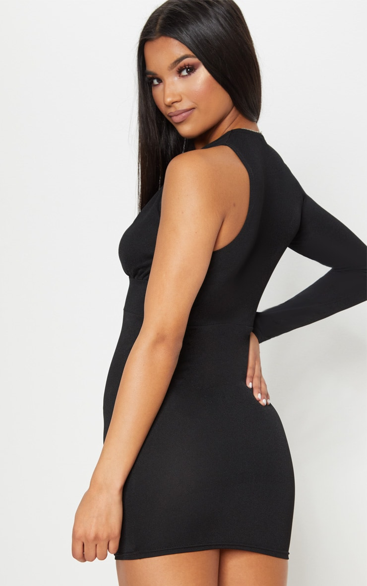Black Asymmetric Sleeve Extreme Plunge Bodycon Dress 2