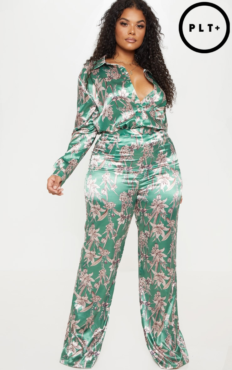 Plus Green Satin Floral Wide Leg Trouser  1