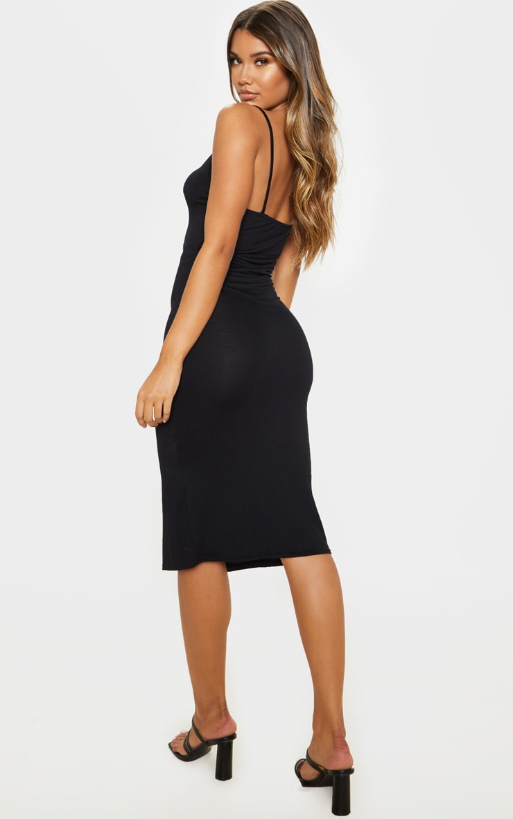 Black Split Front Strappy Midi Dress 2