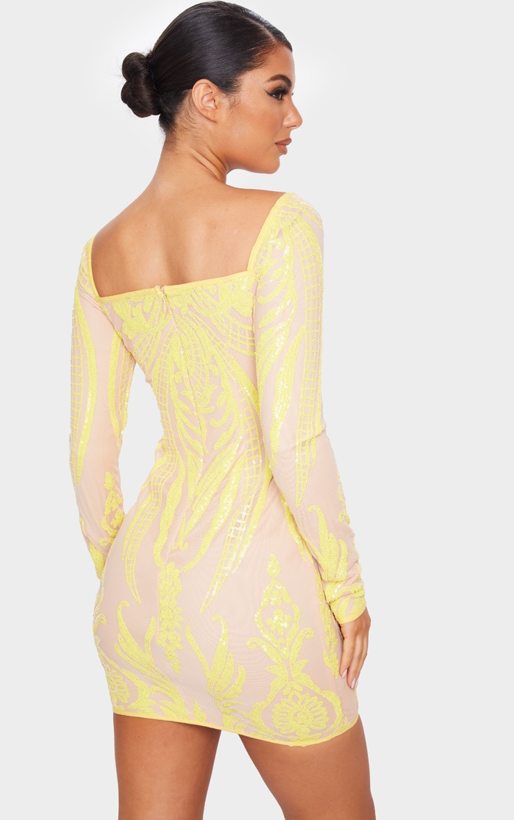 Yellow Sequin Patterened Long Sleeve Lace Up Bodice Bodycon Dress 2