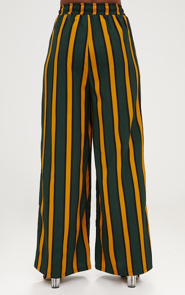 Emerald Green Stripe Wide Leg Trousers 4