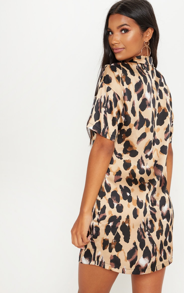 Leopard Print Short Sleeve Shirt Dress 2
