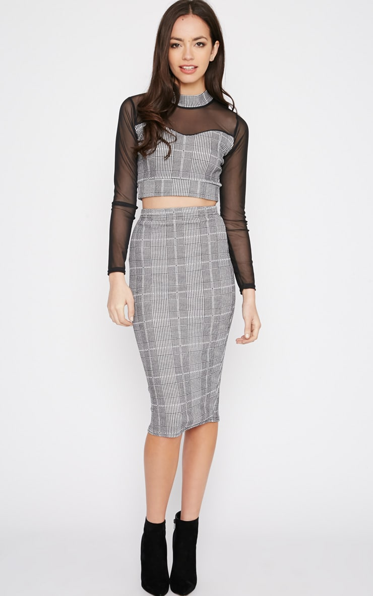 Alayna Monochrome Checked Midi Skirt 1