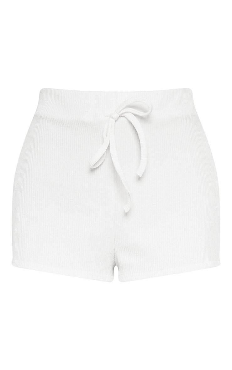 Cream Rib Shorts 4