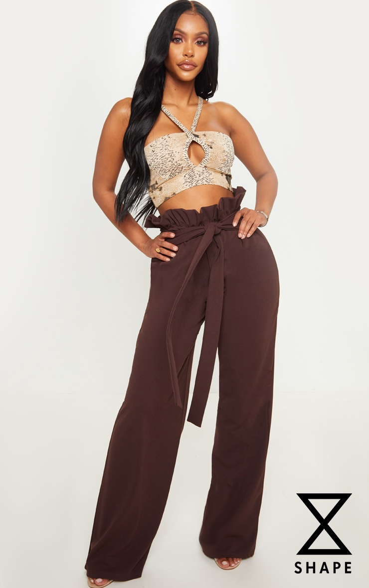 Shape Chocolate Brown High Waist Paperbag Wide Leg Trouser 1
