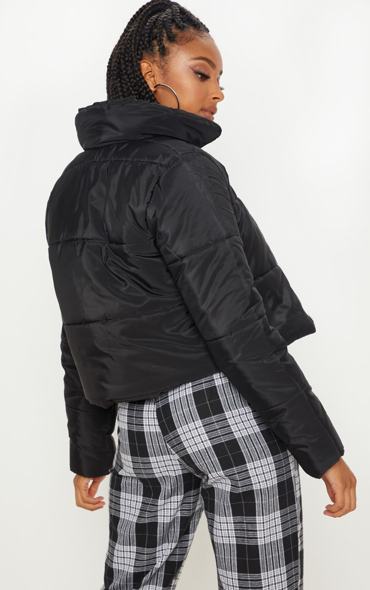 Black Puffer Cropped Jacket 2