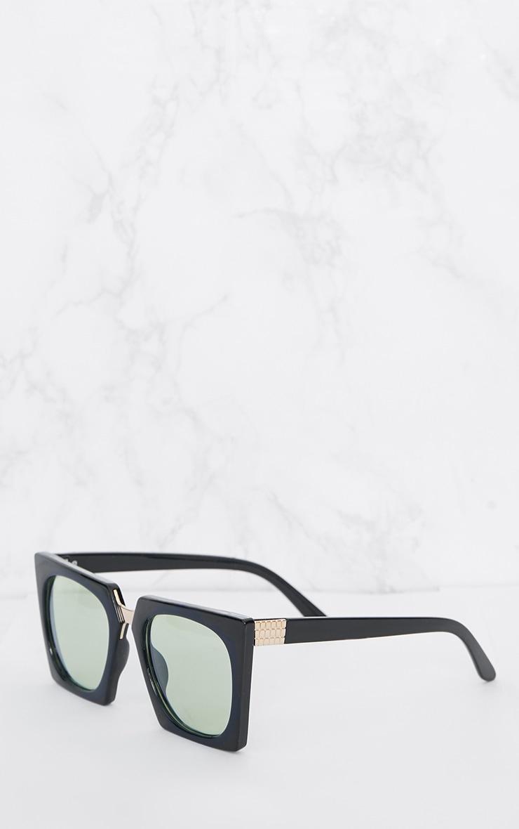 Green Lens Angular Frame Retro Sunglasses 3