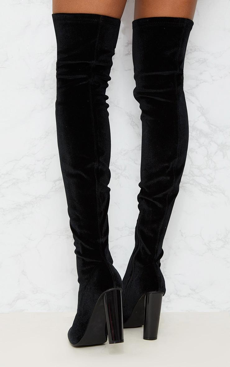 Black Velvet Thigh High Boot 4