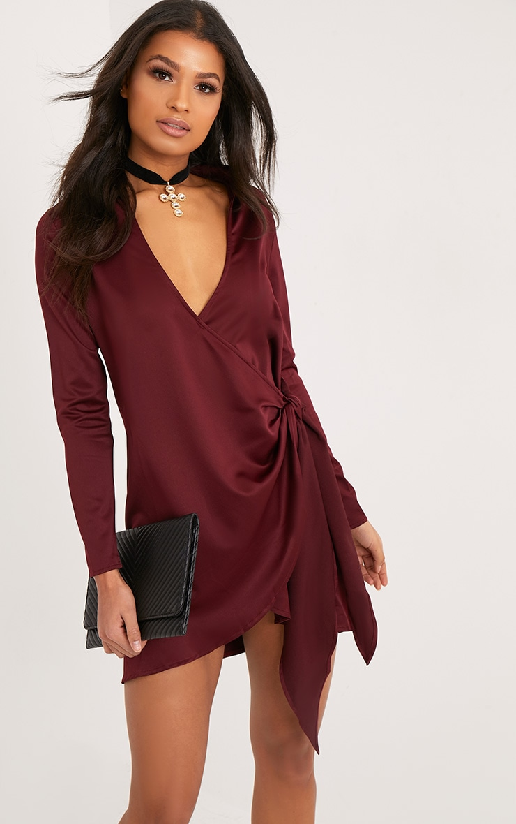 Shaylene Burgundy Tie Side Satin Shirt Dress 1