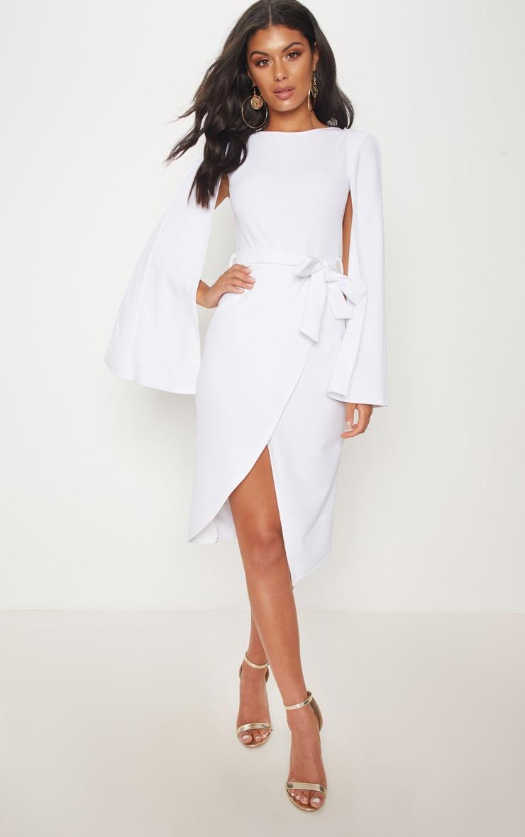 White Cape Style Wrap Midi Dress 1