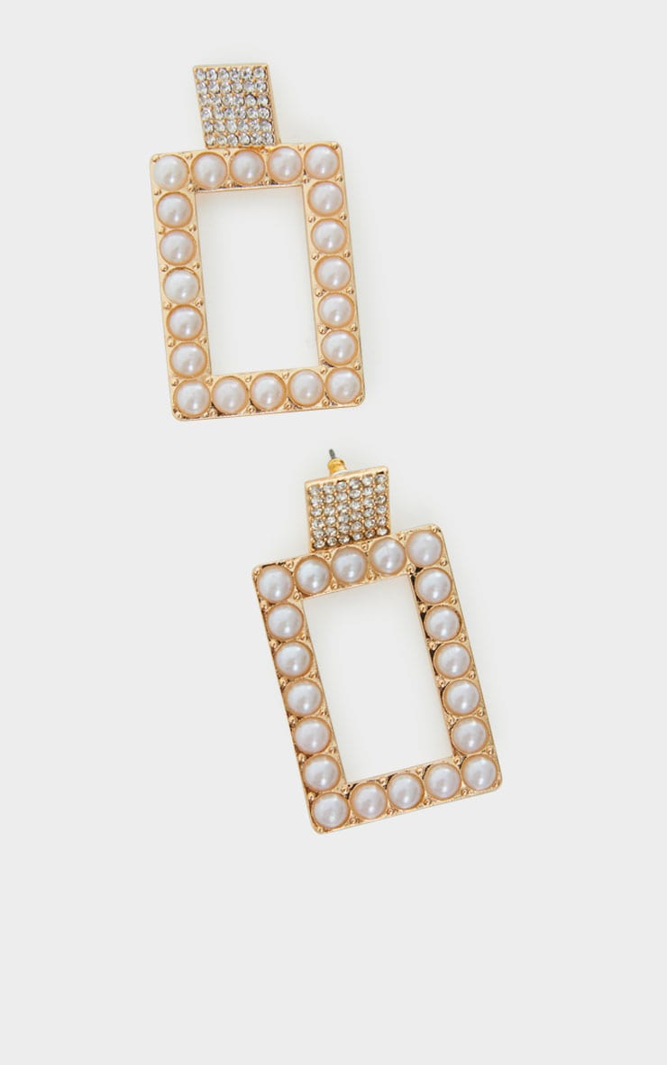 Gold Oversized White Pearl Square Statement Earrings 3