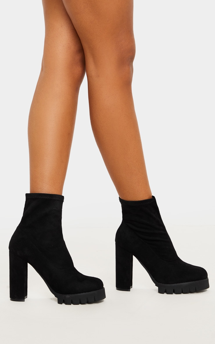 Black Cleated Platform Ankle Sock Boot 2