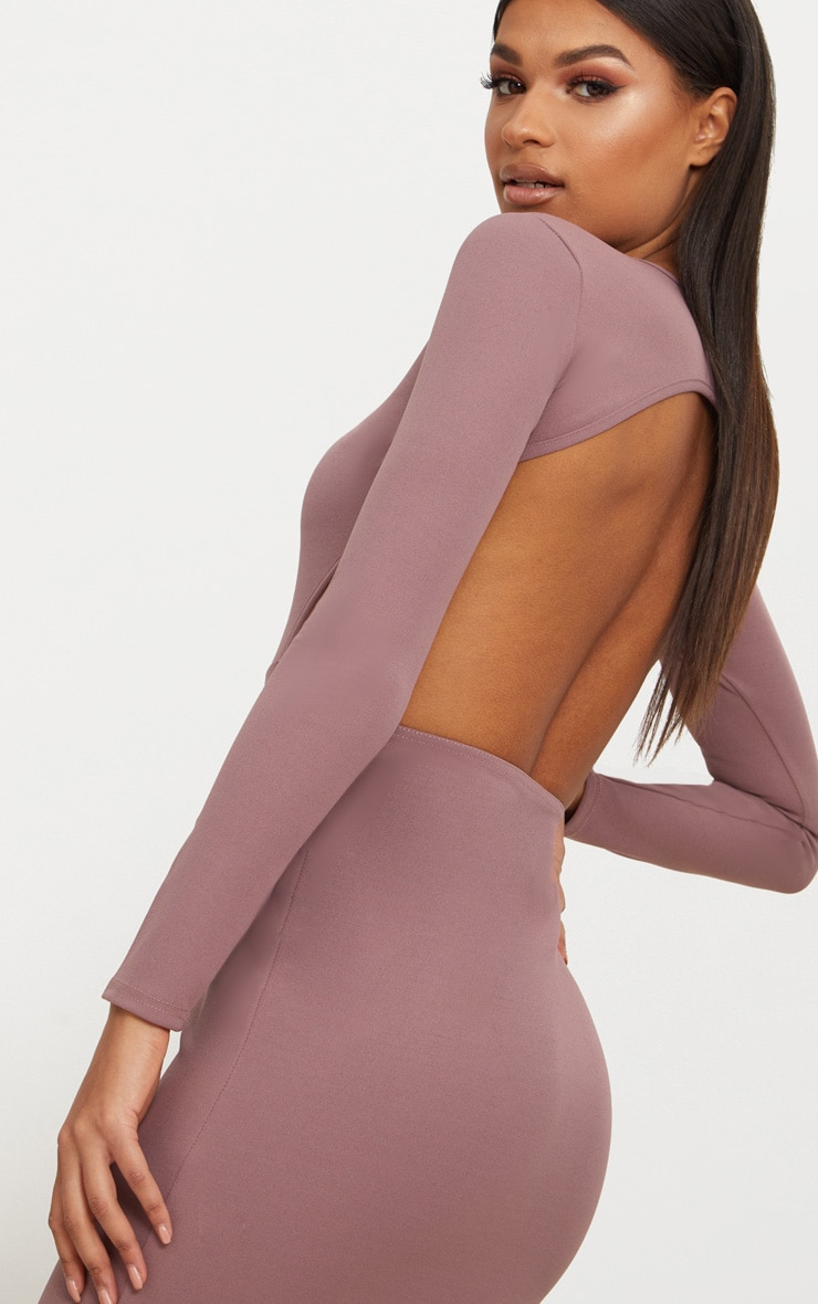 Dark Mauve Backless Long Sleeve Maxi Dress 5