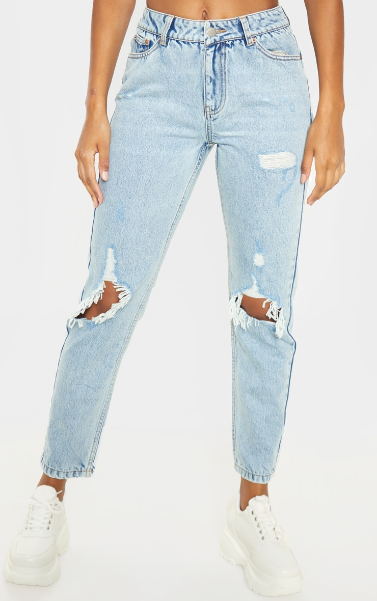 Light Wash Distressed Knee Rip Straight Leg Jeans 2
