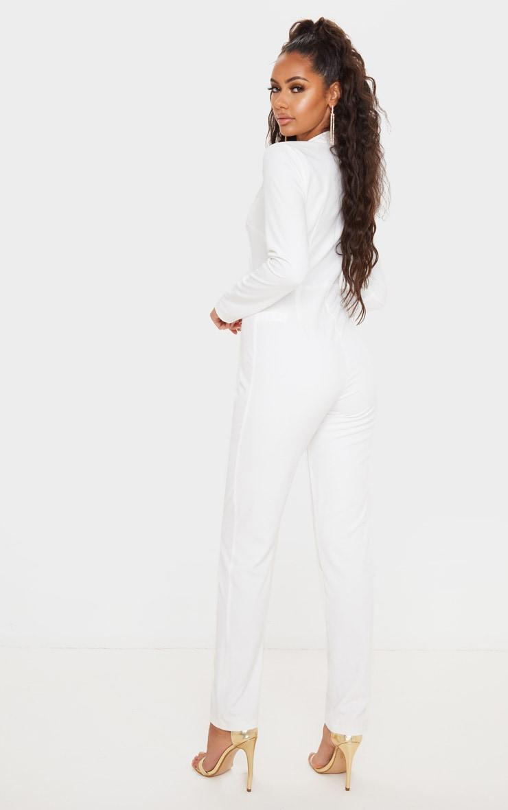 White Button Detail Asymmetric Blazer Jumpsuit 2