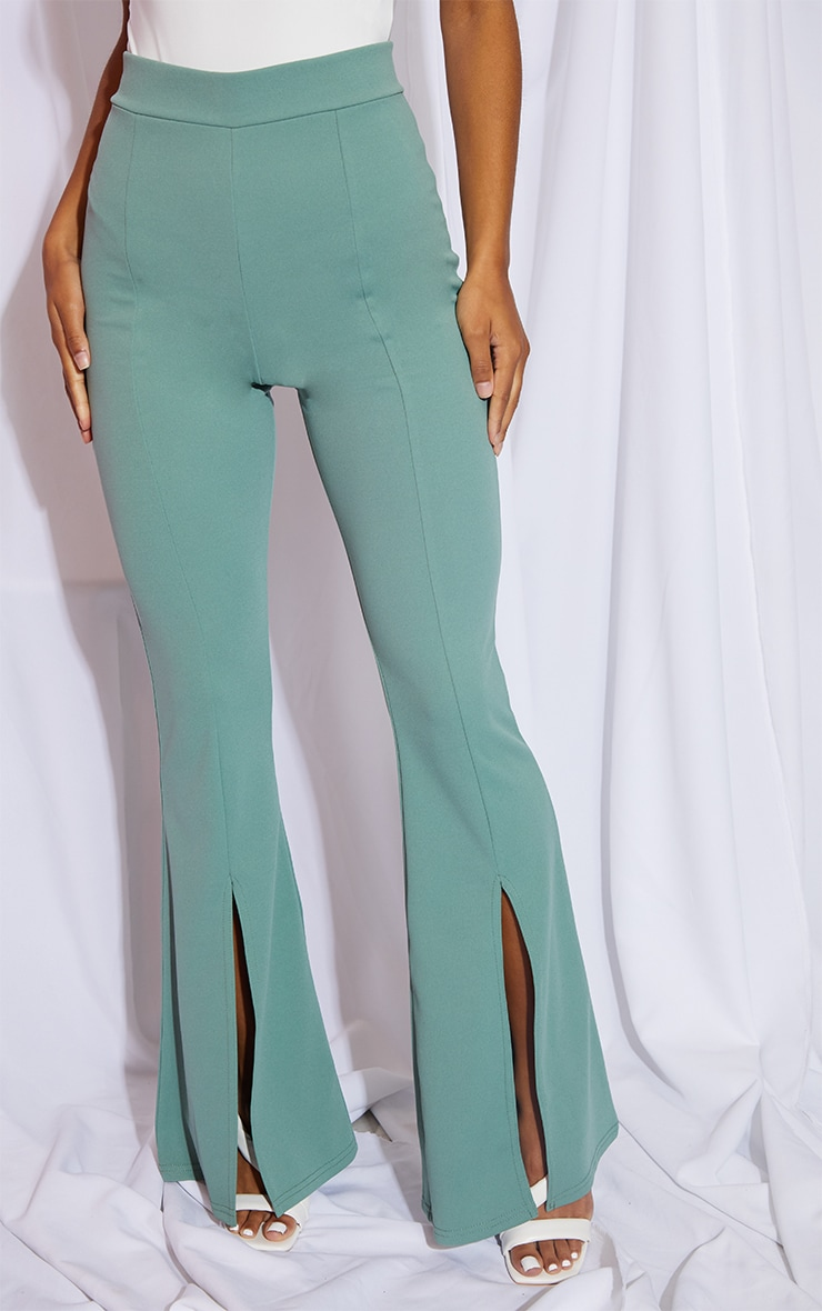 Sage Green Split Hem Flared Pants 2