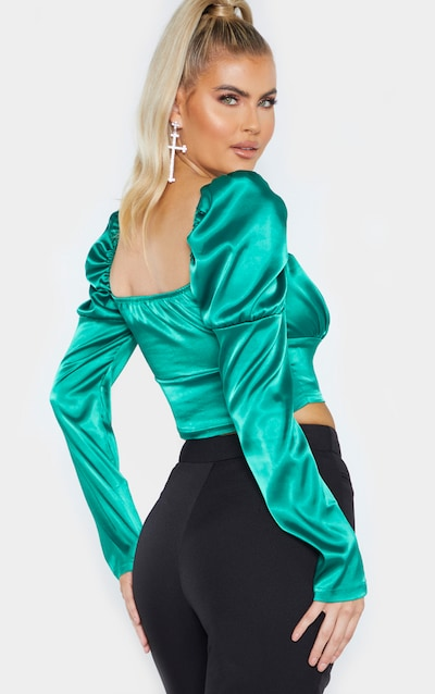 Tall Emerald Green Satin Corset Detail Long Sleeve Crop Top