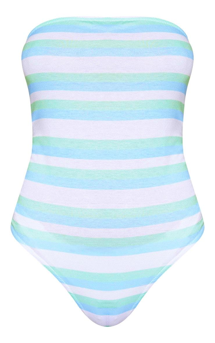 White Stripe Bandeau Thong Bodysuit  2