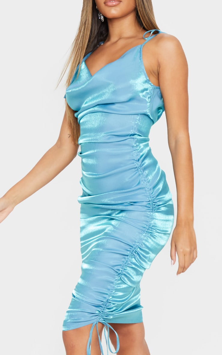 Blue Metallic Shimmer Cowl Neck Tie Strap Midi Dress 5