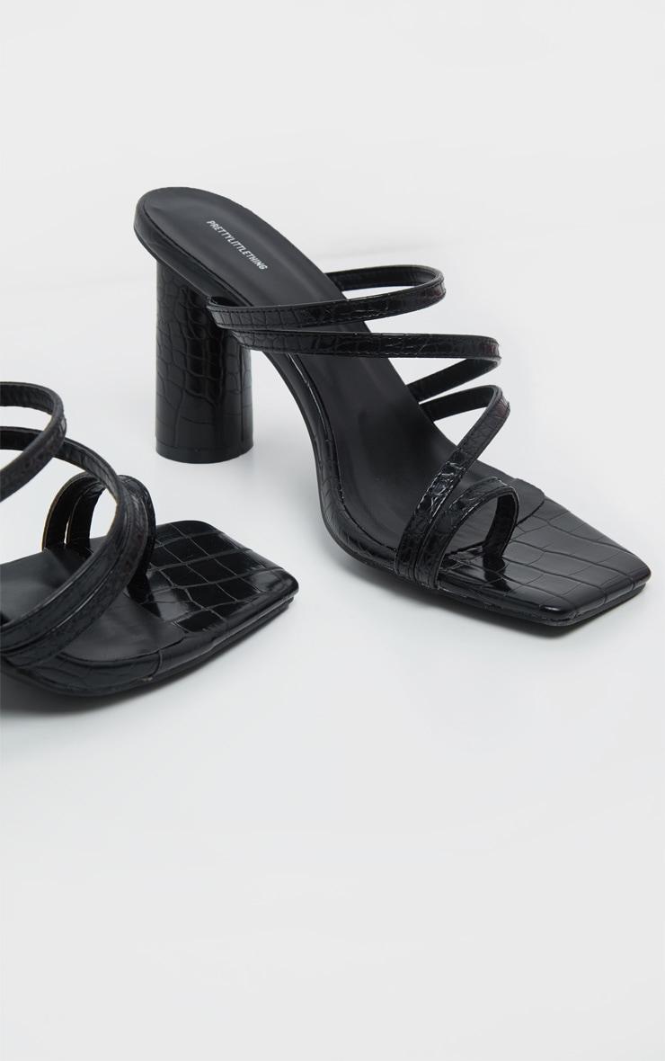 Black Round Block Heel Mule Strappy Sandal 3