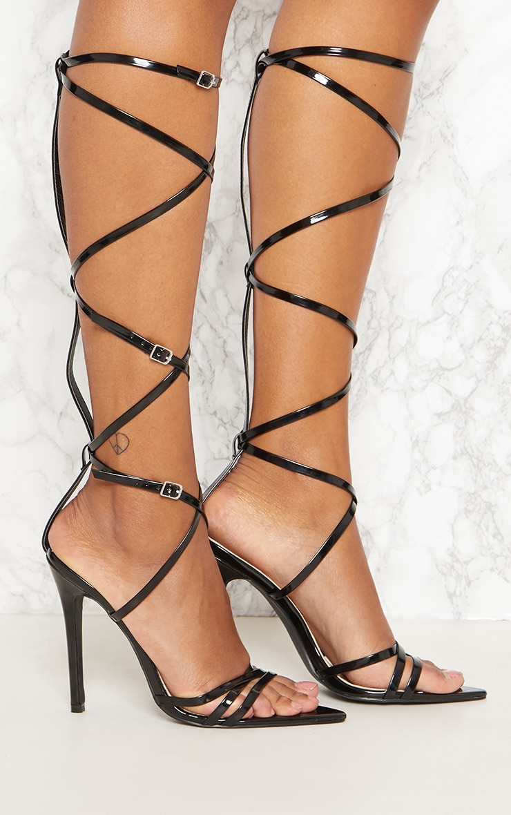 Black Extreme Gladiator Point Heels 5