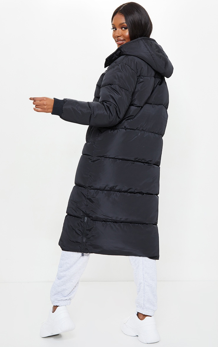 Tall Black Maxi Contrast Hooded Puffer Jacket 2