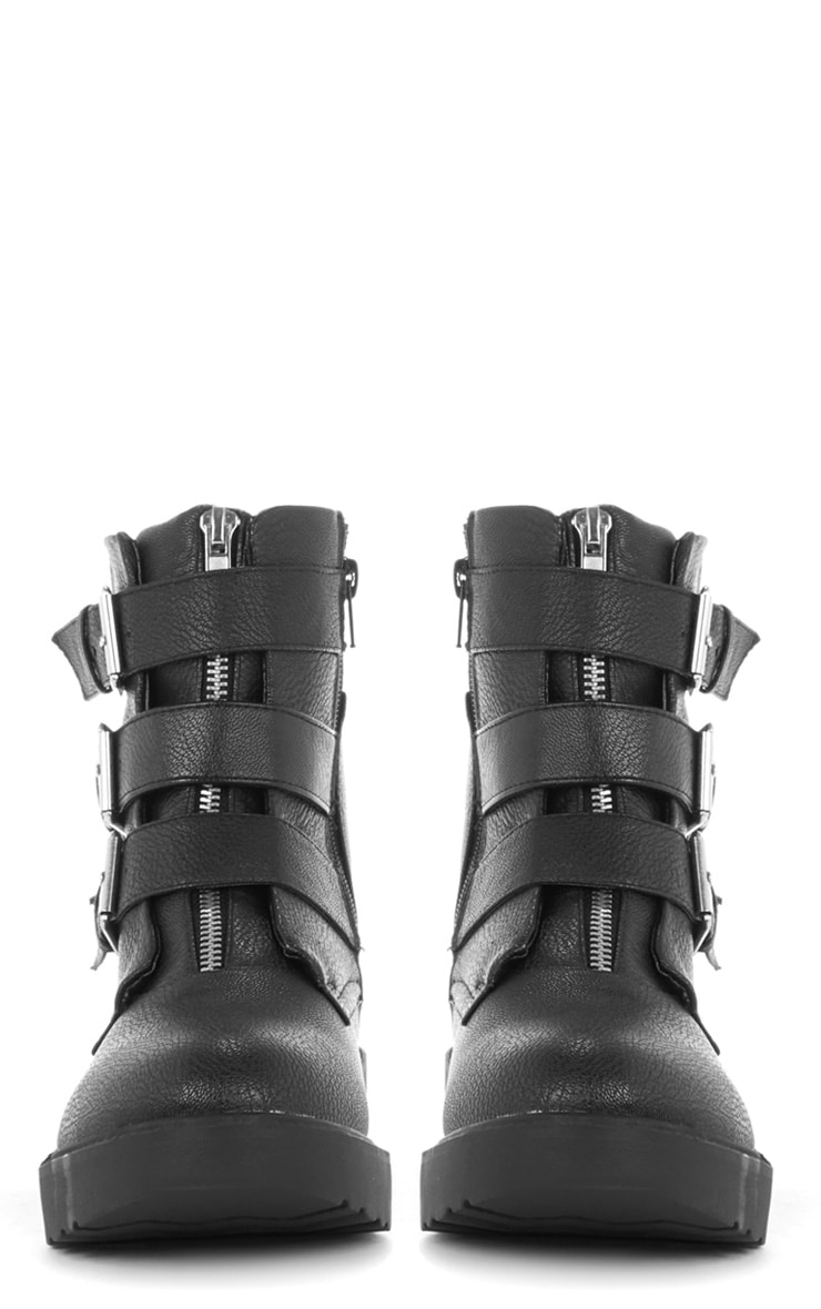 Honor Three Buckle Zip Detail Biker Boot  3