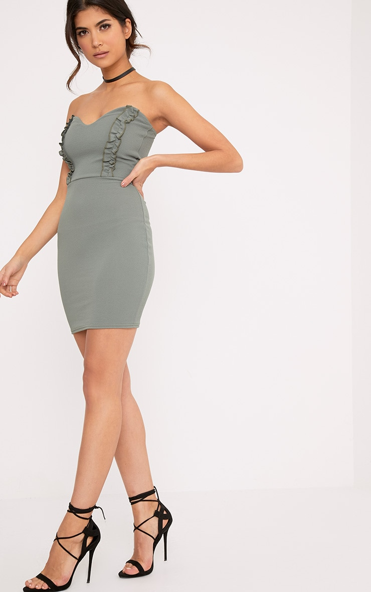 Darliella Khaki Bandeau Ruffle Detail Bodycon Dress 4