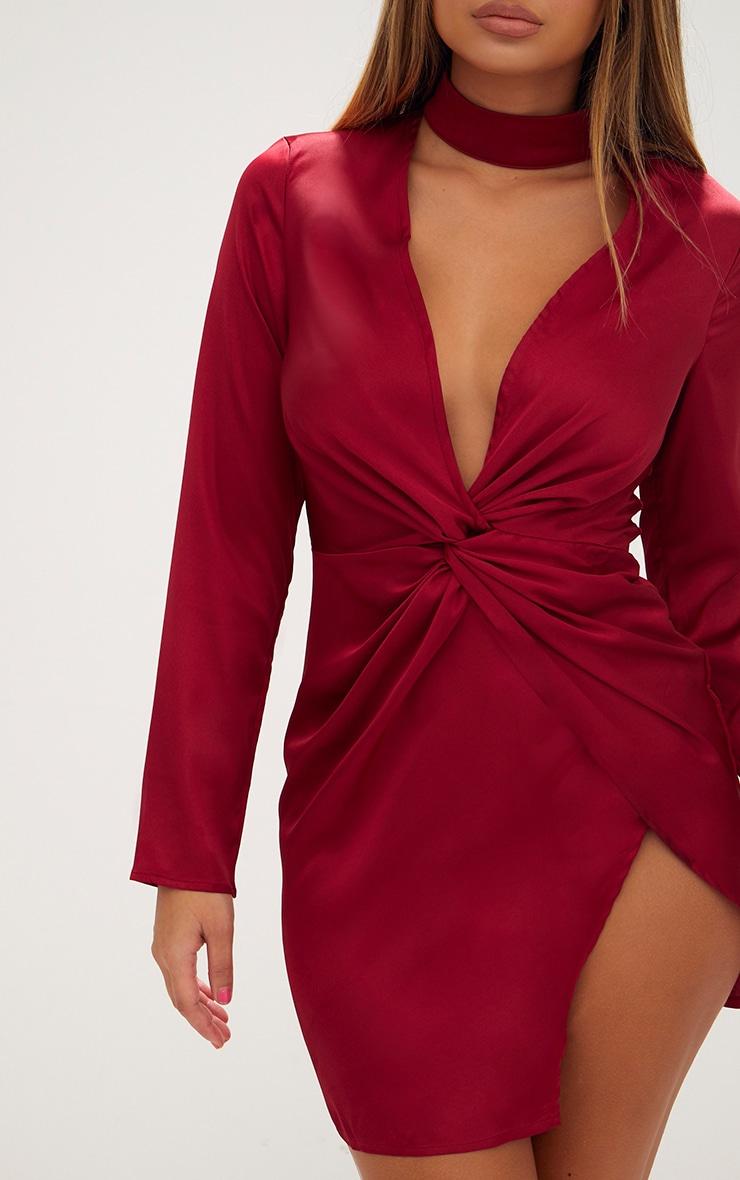 Burgundy Satin Choker Detail Wrap Bodycon Dress 5