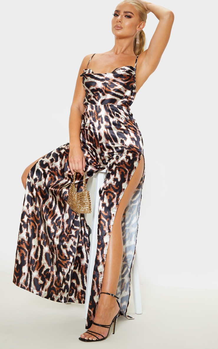 Tan Leopard Satin Cowl Neck Extreme Split Jumpsuit 4