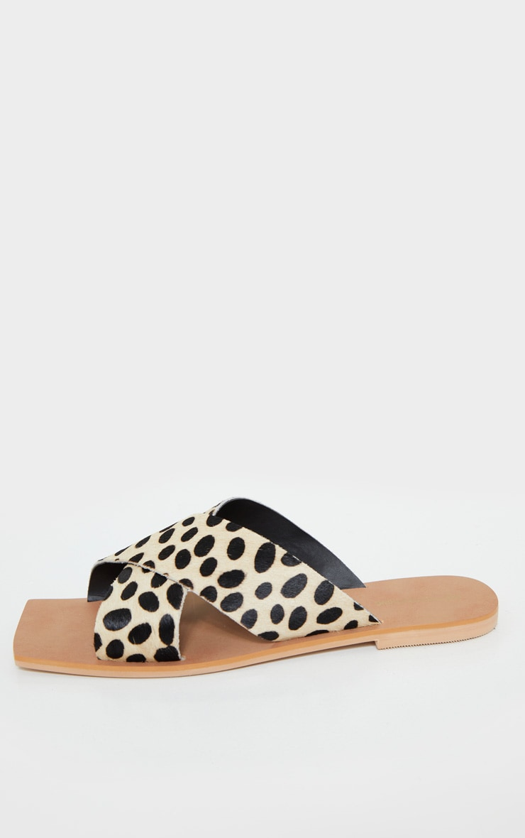 Leopard Square Toe Leather Cross Over Strap Leather Mule Sandals 4