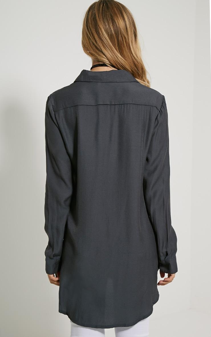 Veena Charcoal Zip Detail Shirt 2