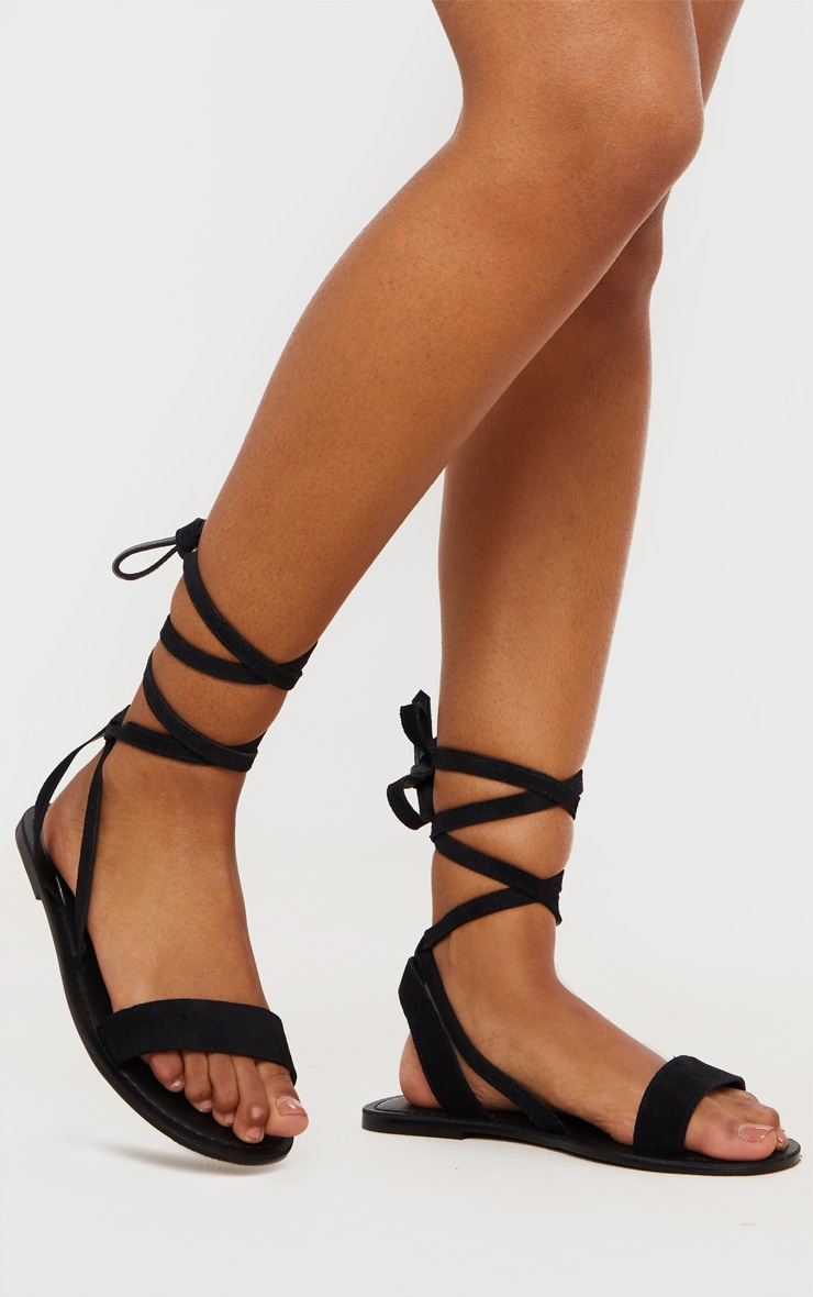 Black Wide Fit Suede Strappy Basic Sandal 1