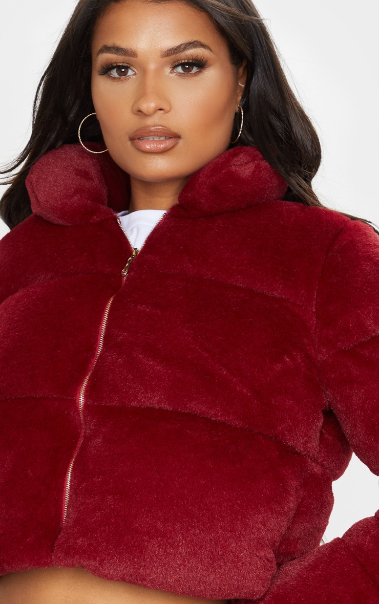 Burgundy Faux Fur Puffer Jacket 5