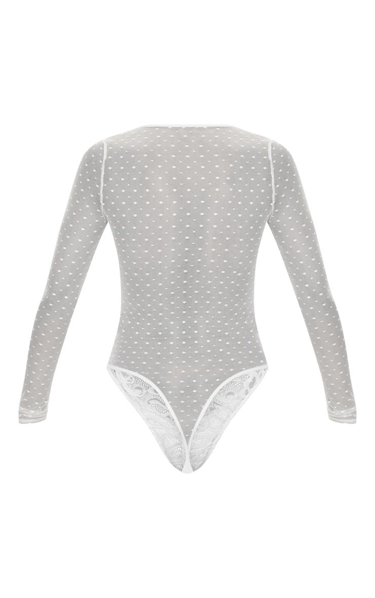 White Long Sleeve Lace Mesh Bodysuit 4