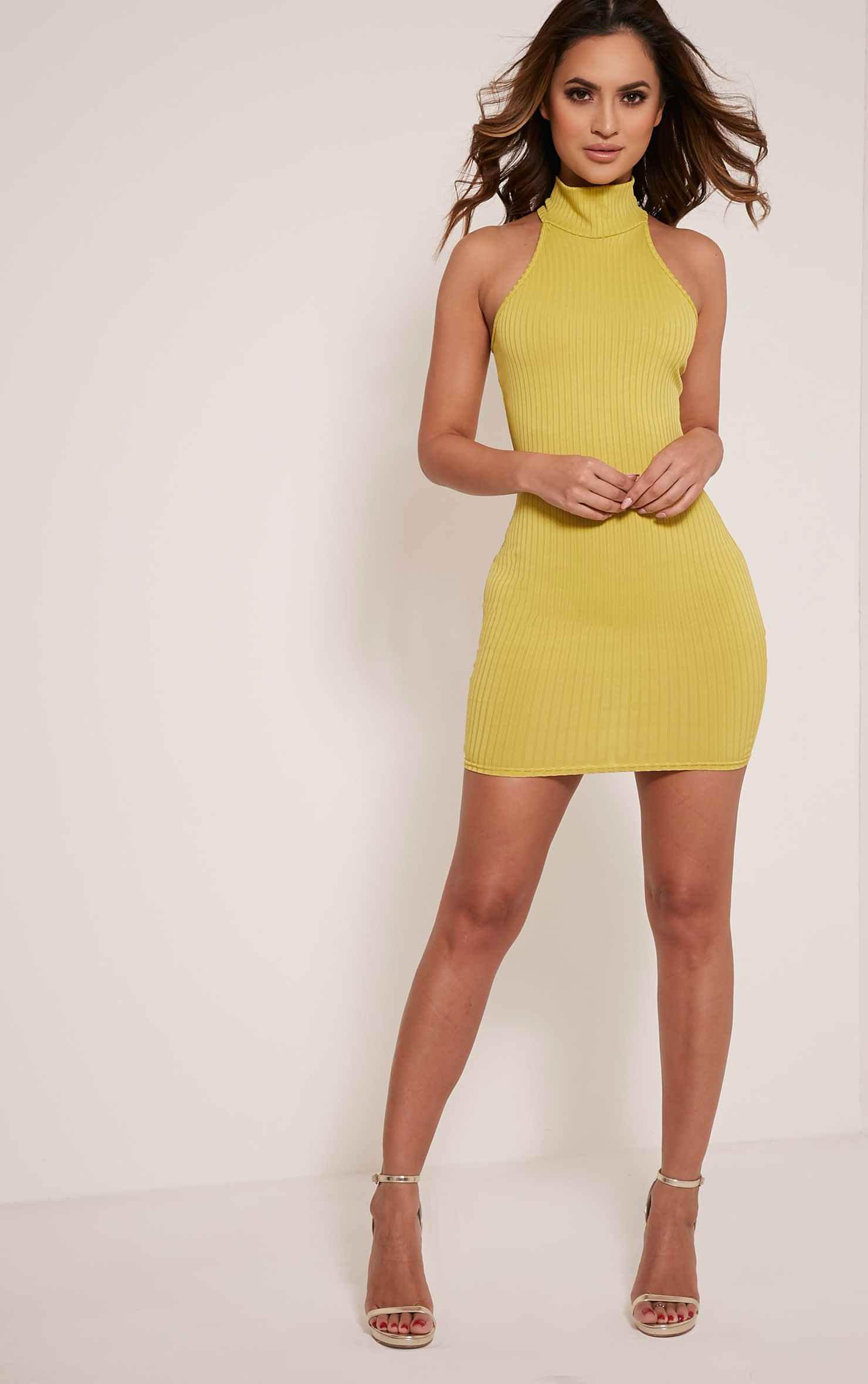 Pearla Dark Lime Racer Neck Ribbed Bodycon Dress 5
