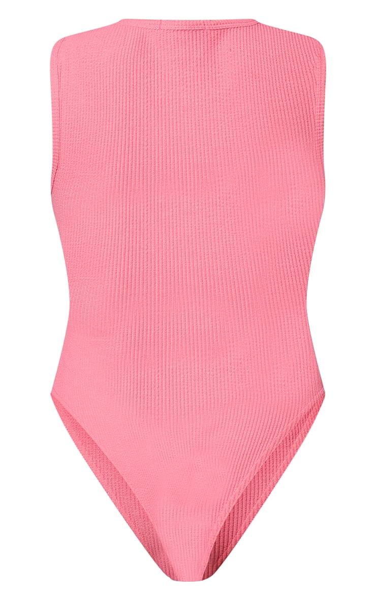 PRETTYLITTLETHING Petite Neon Pink Crinkle Racer Bodysuit 6