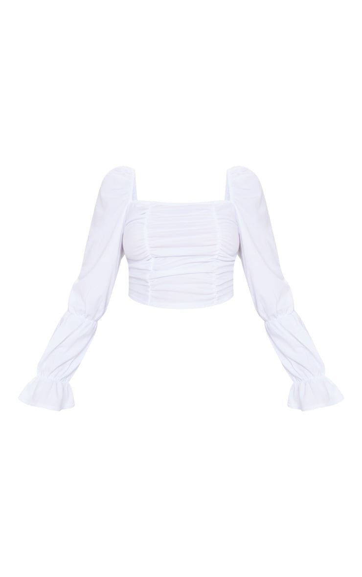 White Crepe Ruched Detail Long Sleeve Crop Top 5