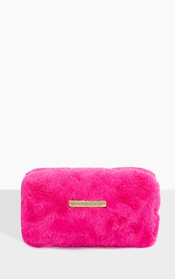 PRETTYLITTLETHING Fuchsia Faux Fur Makeup Bag 1