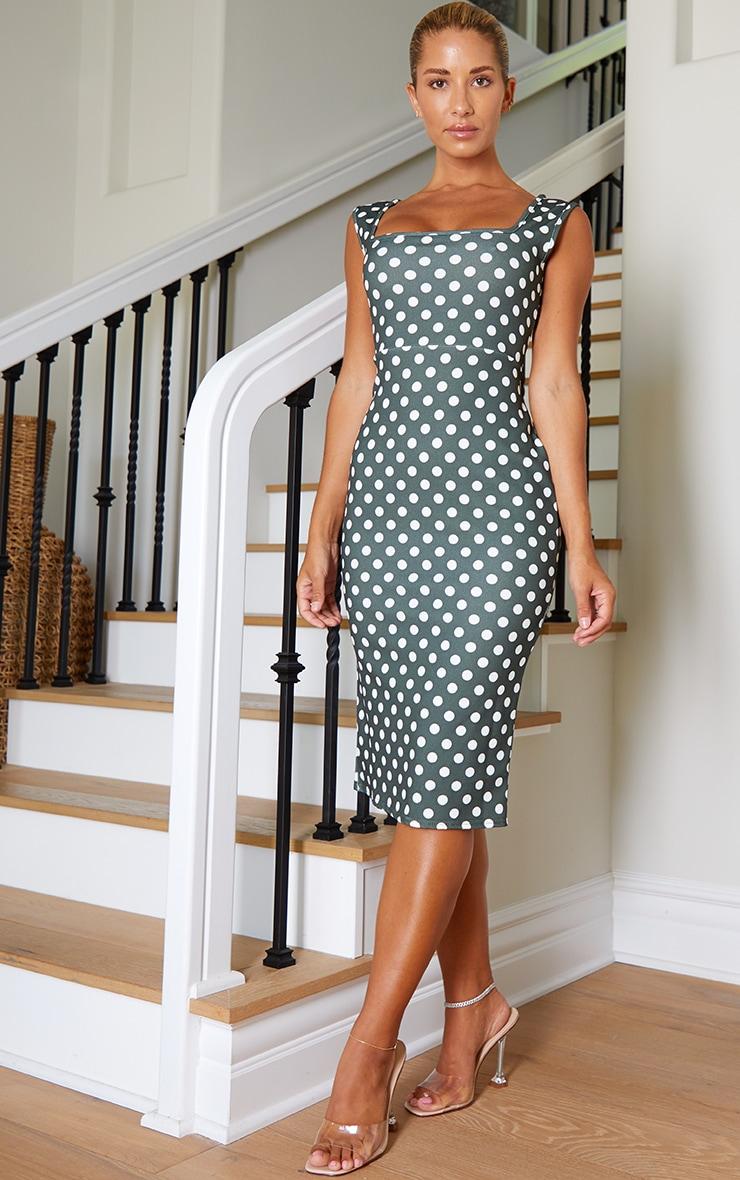 Emerald Green Polka Dot Square Neck Midi Dress 1