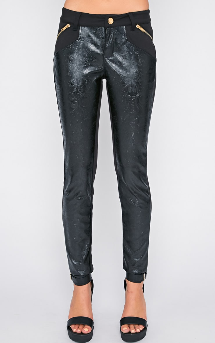 Sheree Black  Leather Panel Jeans With PU Floral Detail 3