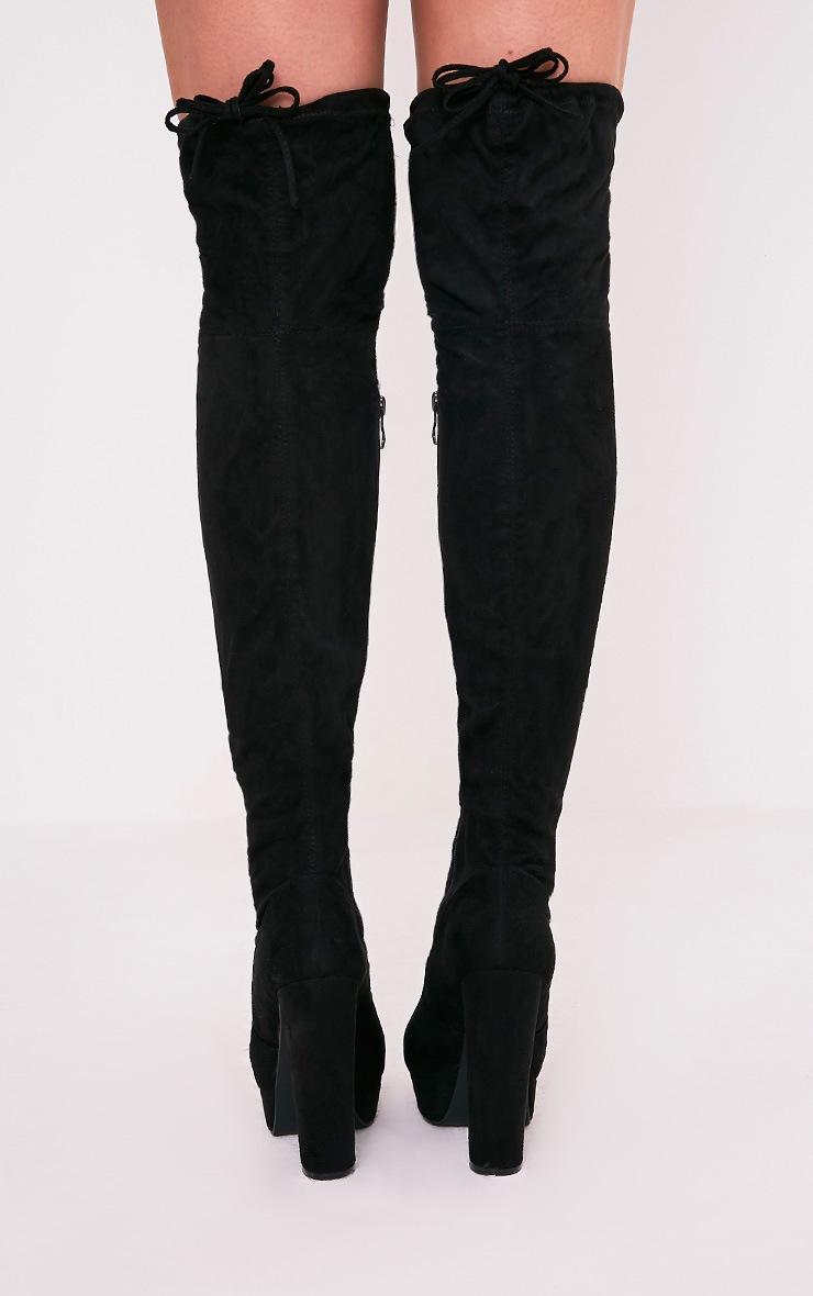 Elisabeth bottes cuissardes noires plateformes imitation daim 4