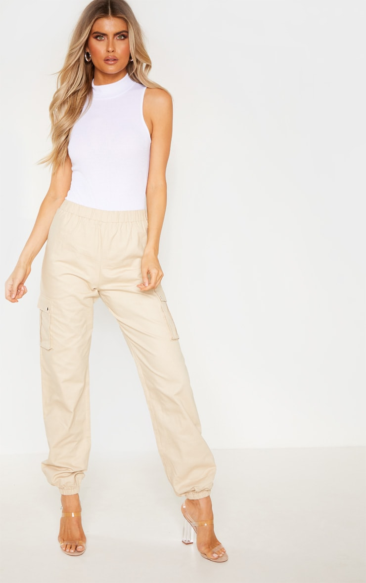 Tall Cream Pocket Detail Cargo Pants 1