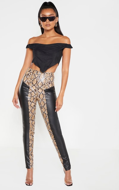 Black Faux Leather Contrast Print Skinny Trouser