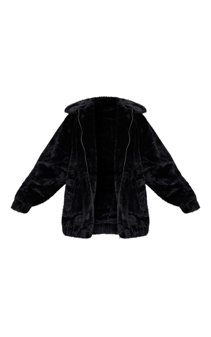 Black Pocket Front Faux Fur Coat 5