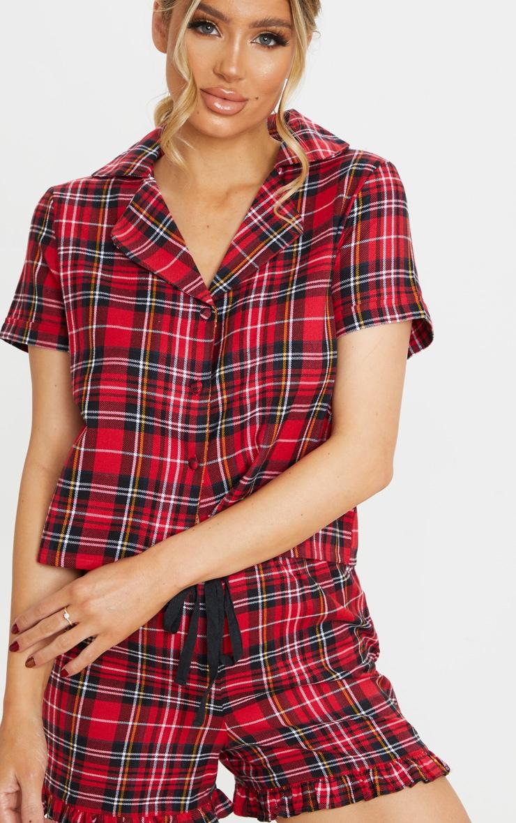 Red Tartan Check Flannel Short Pj Set 4