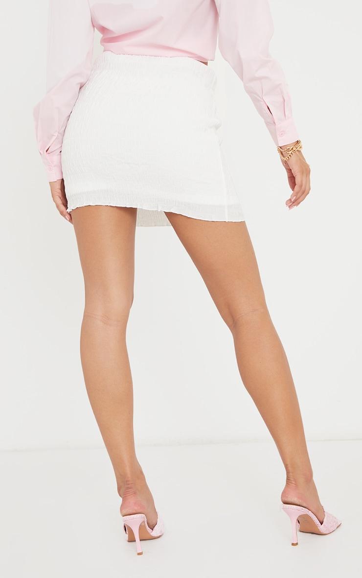 White Textured Shirred Mini Skirt 3
